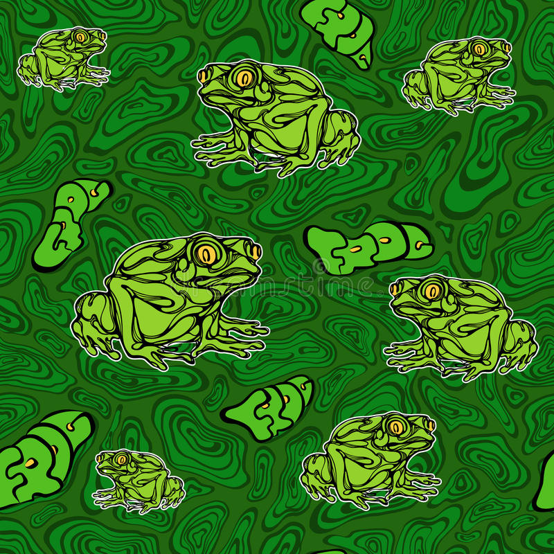 Seamless pattern of frog. A colorful illustration of frog. seamless pattern royalty free illustration