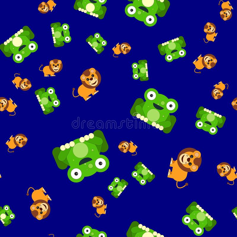 Seamless pattern of frogs and a lion stock illustration