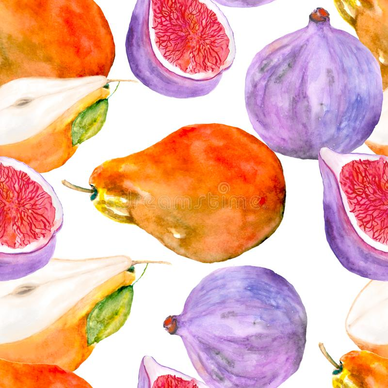 Seamless pattern of fruit figs and watercolor painted pears royalty free stock photos