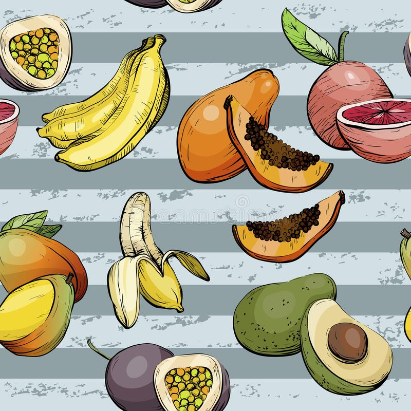 Seamless pattern with fruit vector illustration