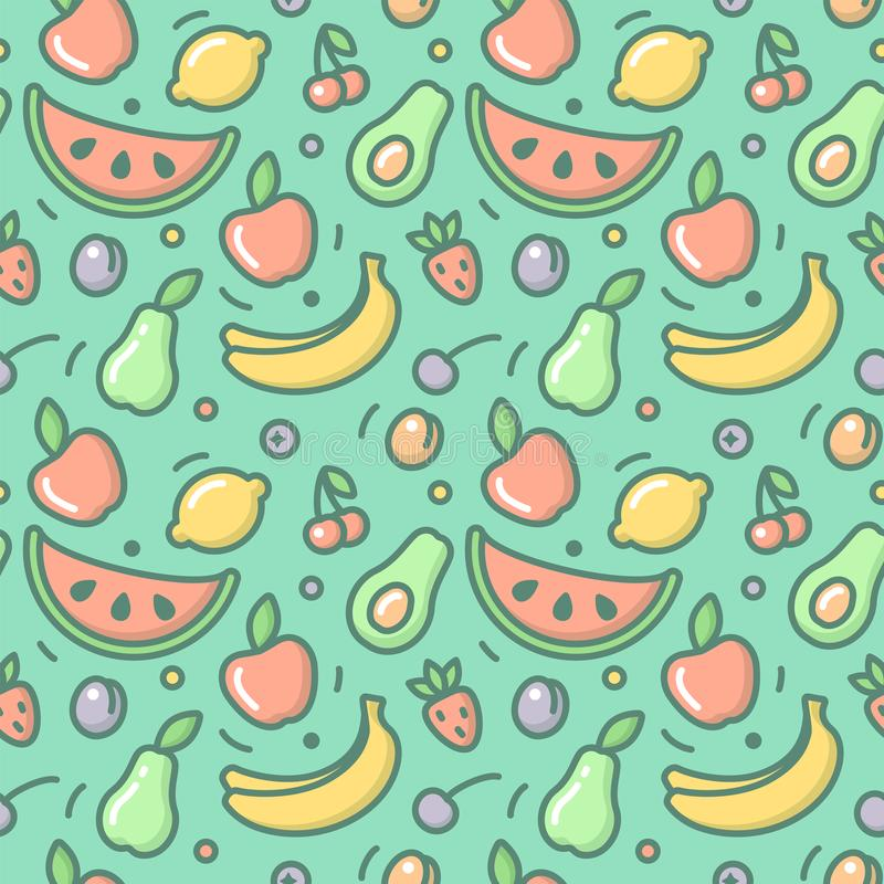 Seamless pattern with fruits stock illustration