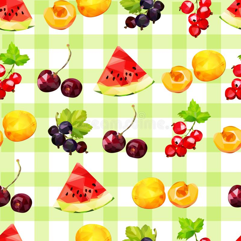 Seamless pattern with summer berries of watermelon, red and black currant, apricot and cherry on a checkered green background vector illustration