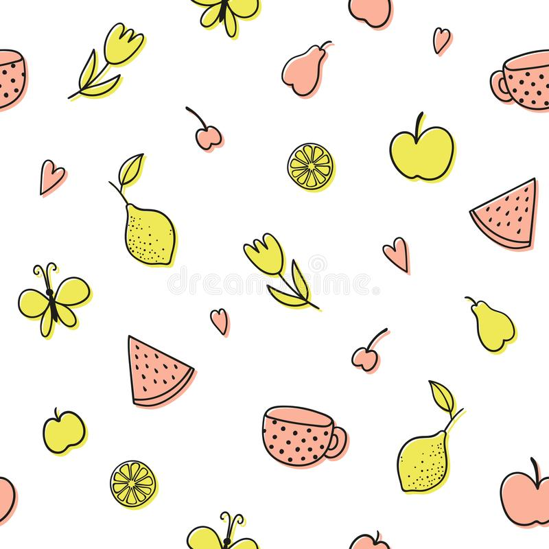 Seamless pattern with fruits doodles. royalty free illustration