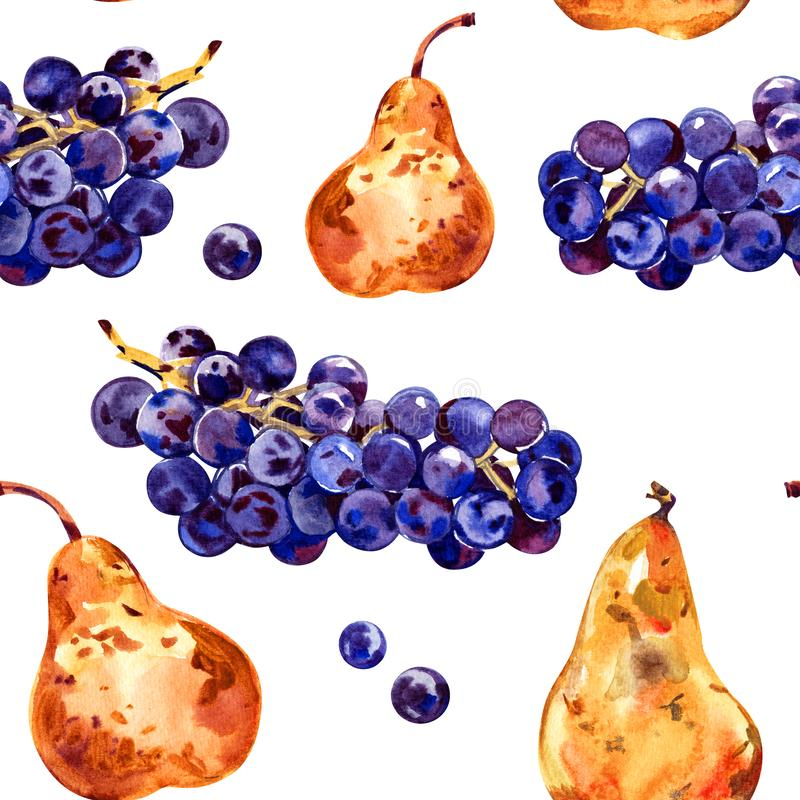 Seamless pattern with fruits. Grapes and pear. Watercolor illustration. Hand drawn royalty free stock photos