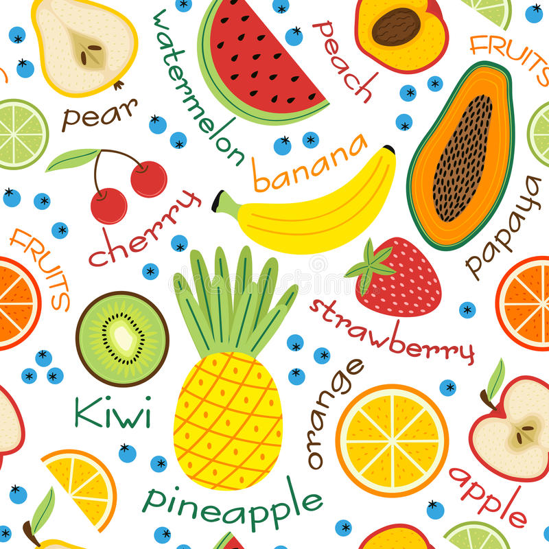 Seamless pattern with fruits and inscriptions royalty free illustration