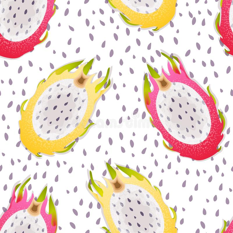 Seamless pattern with fruits Pitaya. Dragon fruit.  Exotic fruit. Low-Calorie Foods. Healthy Eating. royalty free illustration