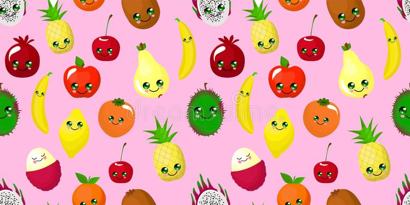 Seamless pattern with fruits for textile and packaging design. Pink girlish background. Healthy food. Fruit character stock illustration
