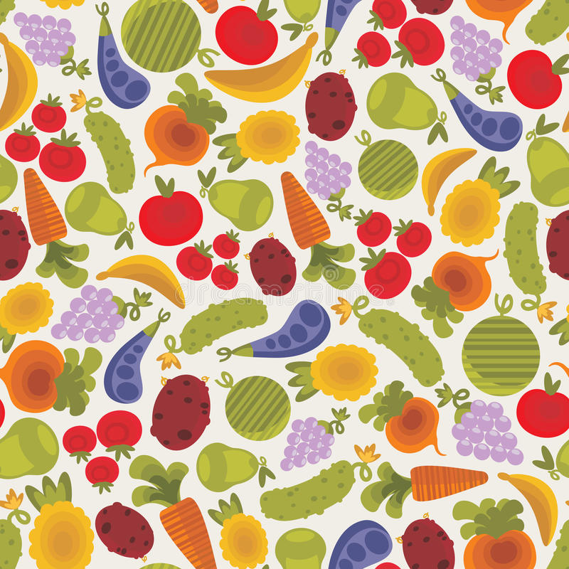 Seamless pattern with fruits and vegetables. vector illustration