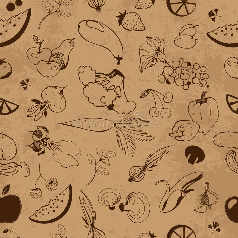 Seamless pattern of fruits and vegetables vector illustration