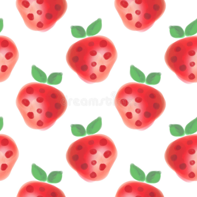 Seamless pattern with fruits. Watercolor background with hand drawn strawberries. Series of Watercolor Seamless Patterns, Backgrounds royalty free stock images
