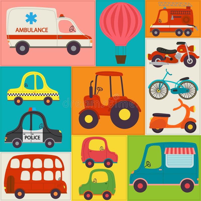 Seamless pattern with fun transports. Illustration, eps stock illustration