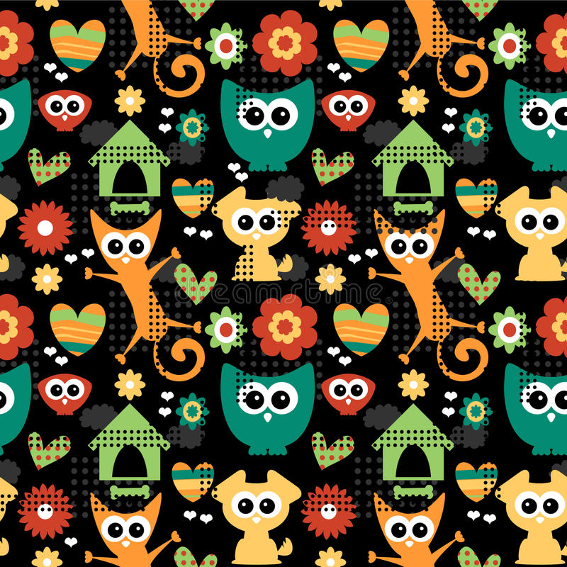 Download Seamless Pattern With Funny Animals Stock Vector - Image: 27665635