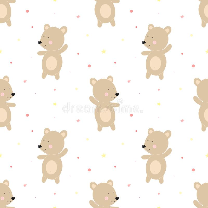 Seamless pattern of funny bears on a background of pink dots. Vector image for girl. Illustration for holiday, baby shower, birthd royalty free illustration