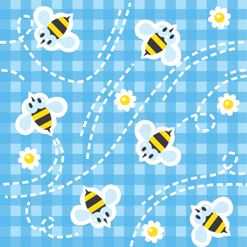 Seamless pattern with funny bees. Seamless pattern with funny flying bees and flowers on blue checkered tablecloth background. Children vector illustration vector illustration