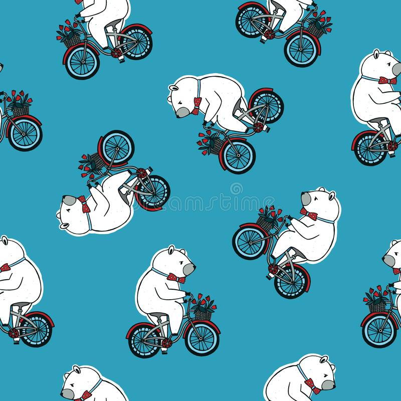 Seamless pattern with funny cartoon circus bear wearing bow tie and riding bicycle with front basket full of red tulip vector illustration