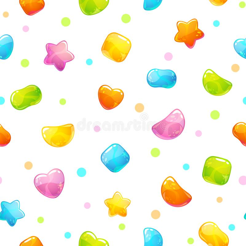Seamless pattern with funny cartoon jelly candies. vector illustration