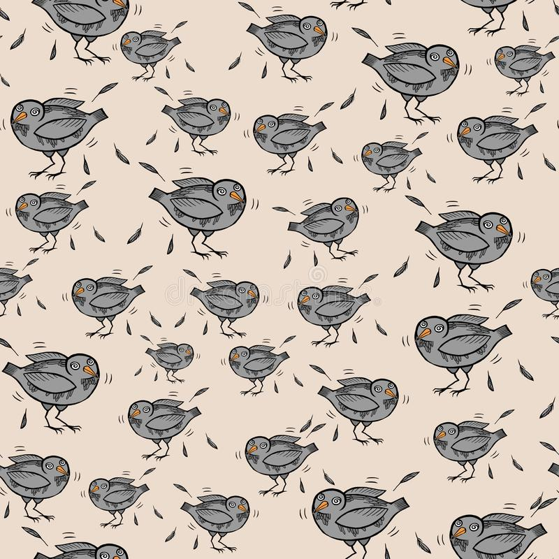 Seamless pattern with funny cartoon pigeons and feathers vector illustration