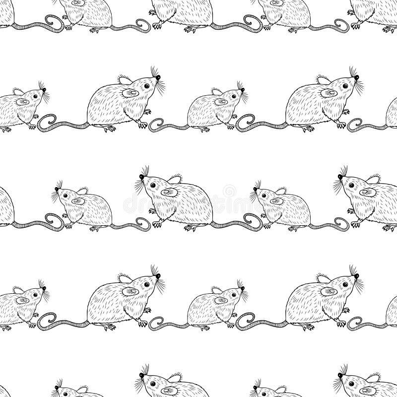 Seamless pattern of funny cartoon rats royalty free illustration