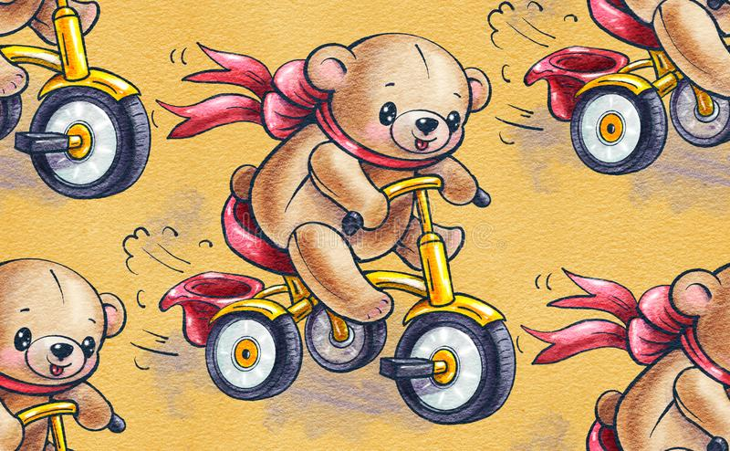 Seamless pattern with funny cartoon Teddy bears riding a Bicycles royalty free illustration