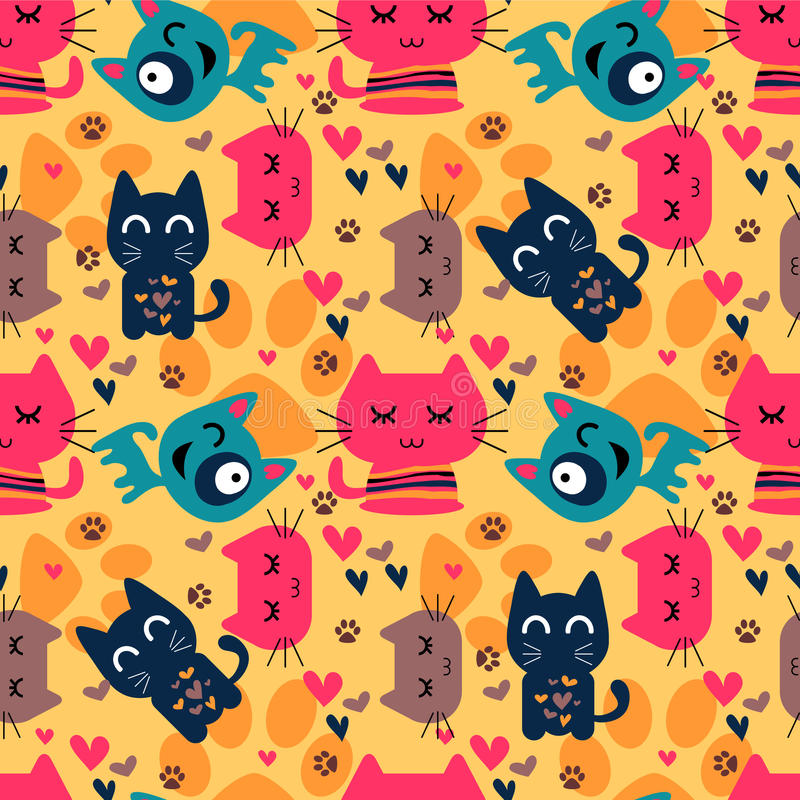 Download Seamless Pattern With Funny Cats Stock Vector - Image: 27665645