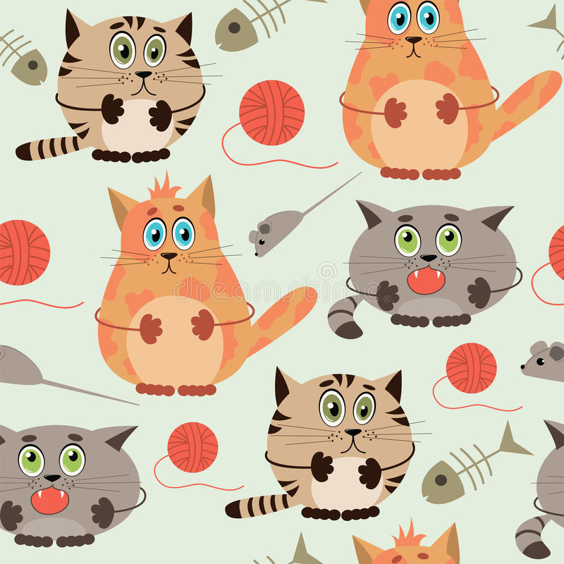 Seamless pattern with funny cats. On a blue background. Vector illustration vector illustration