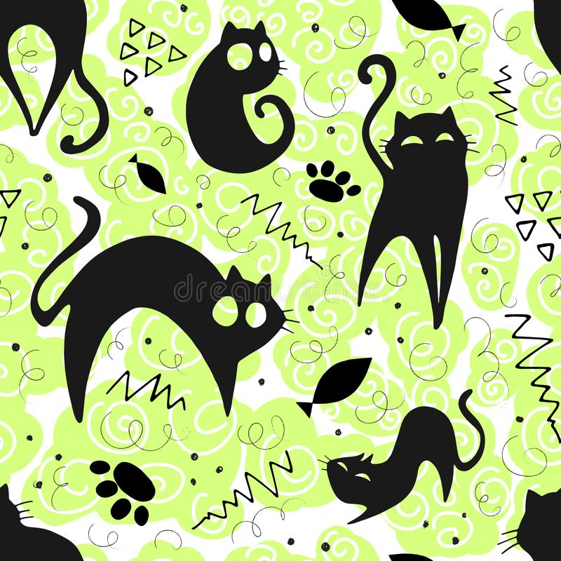 Seamless pattern with funny cats and elements. vector illustration