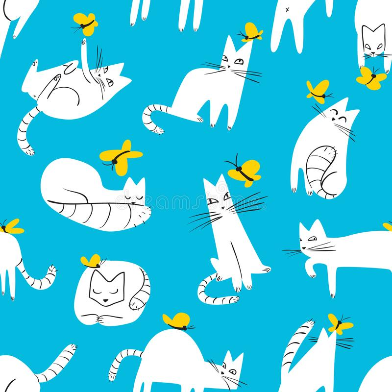 Seamless pattern with funny cats playing with butterflies. Background with domestic pet stock illustration