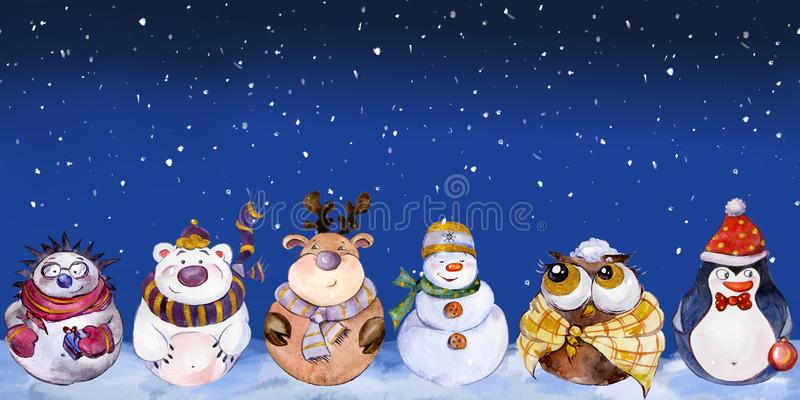 Seamless pattern with funny Christmas characters stock illustration