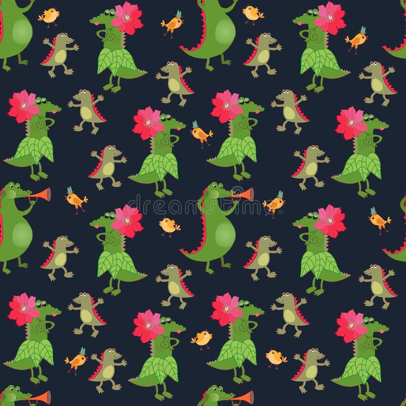 Seamless pattern with funny crocodiles and cute little birds on black background. Fairytale ornament for baby. Print for fabric vector illustration
