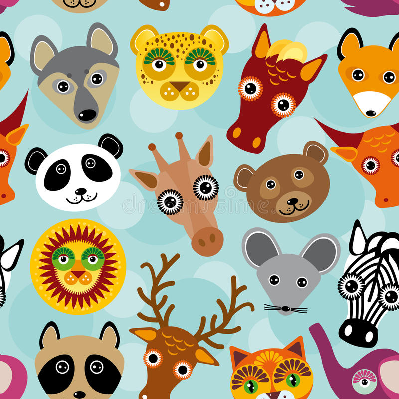 Seamless pattern with funny cute animal face on a blue background. vector vector illustration
