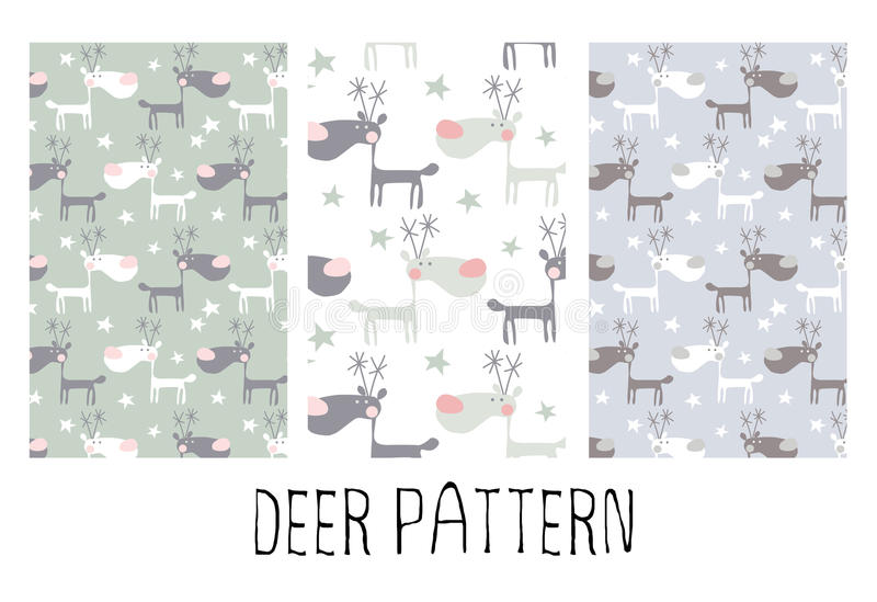 Seamless pattern with funny deers stock illustration