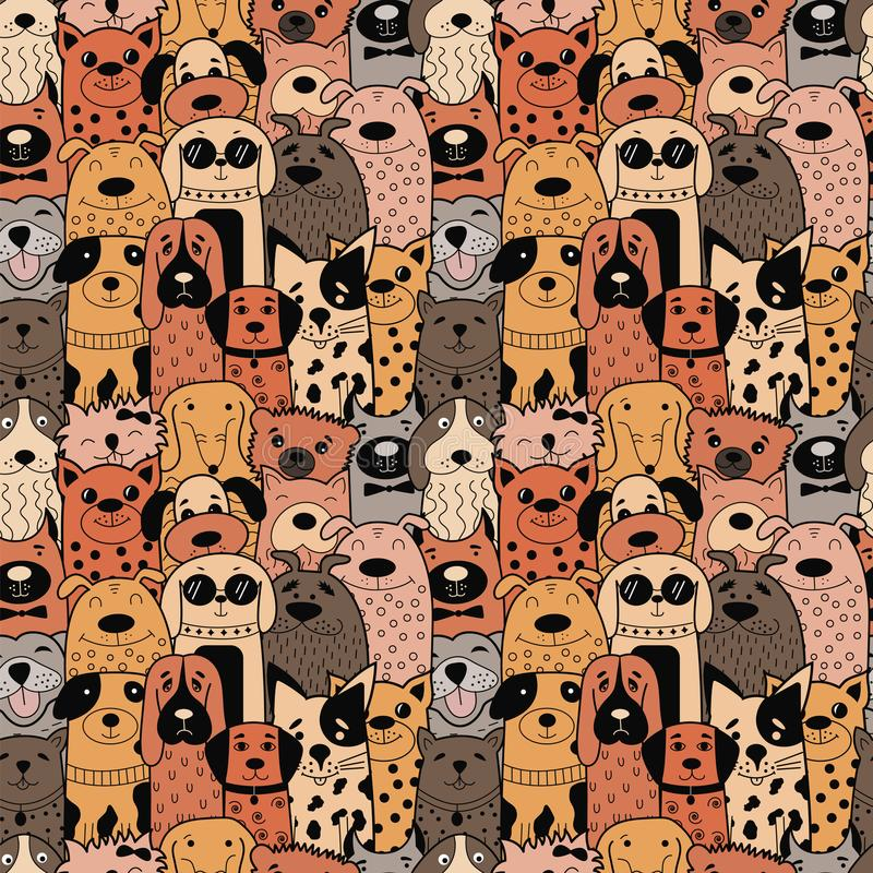 Seamless pattern with funny doodle dogs. Vector illustration. Can be used for textile, website background, book cover, packaging vector illustration