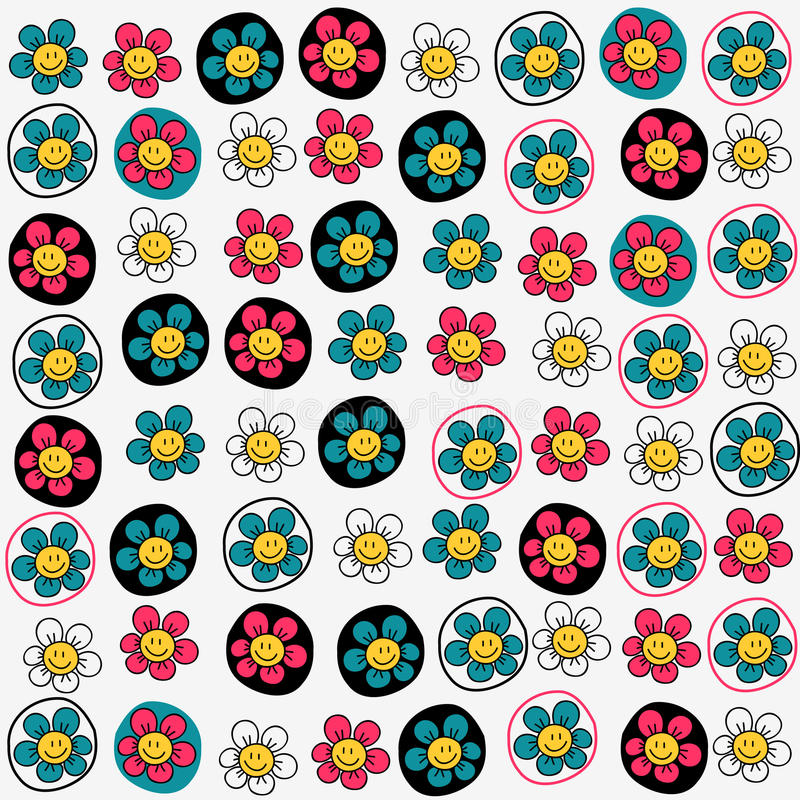 Download Seamless Pattern With Funny Flowers Stock Vector - Image: 28538117
