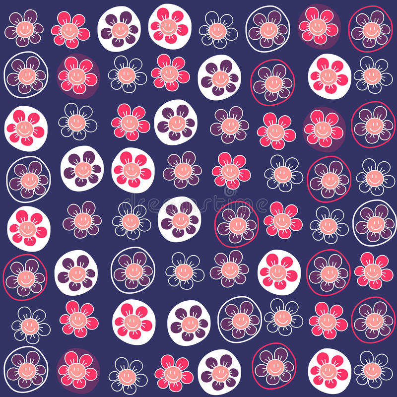 Download Seamless Pattern With Funny Flowers Stock Vector - Illustration: 28538150