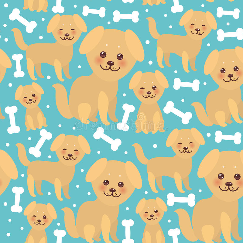 Seamless pattern funny golden beige dog and white bones, Kawaii face with large eyes and pink cheeks, boy and girl on blue royalty free illustration