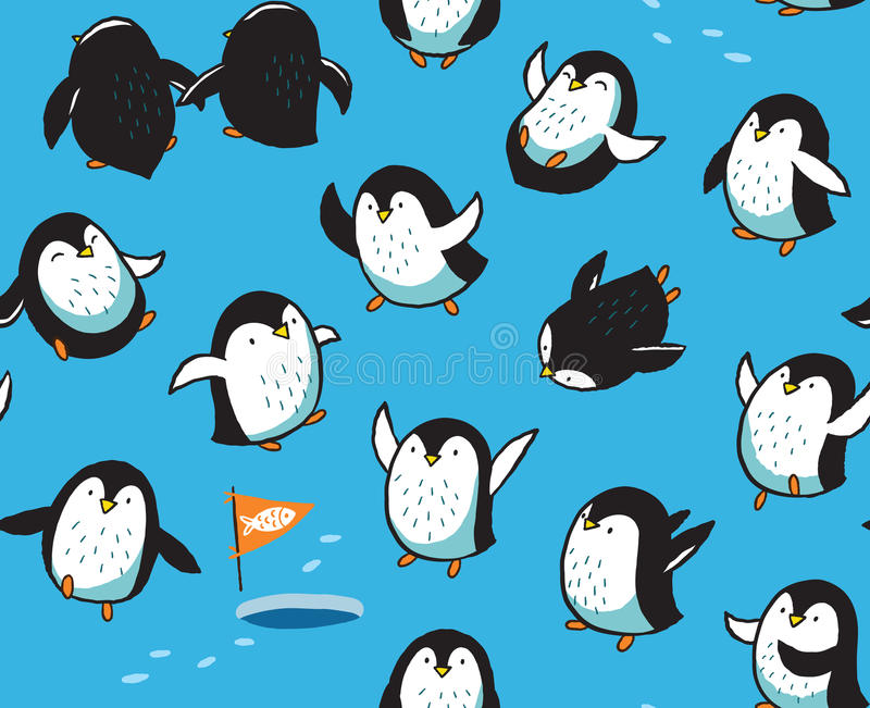 Seamless pattern with funny hand drawn penguins. Funny cartoon penguins seamless pattern isolated on blue background. Vector illustration royalty free illustration