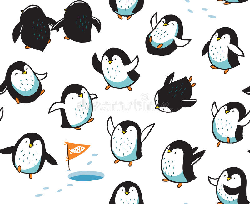 Seamless pattern with funny hand drawn penguins. Funny cartoon penguins seamless pattern. Vector illustration vector illustration