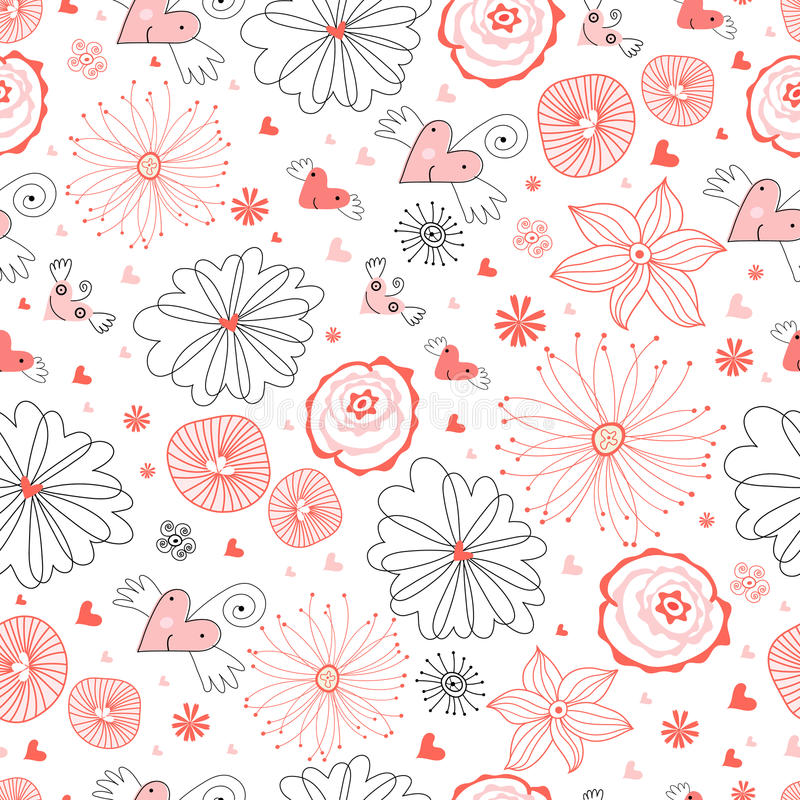 Seamless Pattern Of Funny Hearts Royalty Free Stock Image