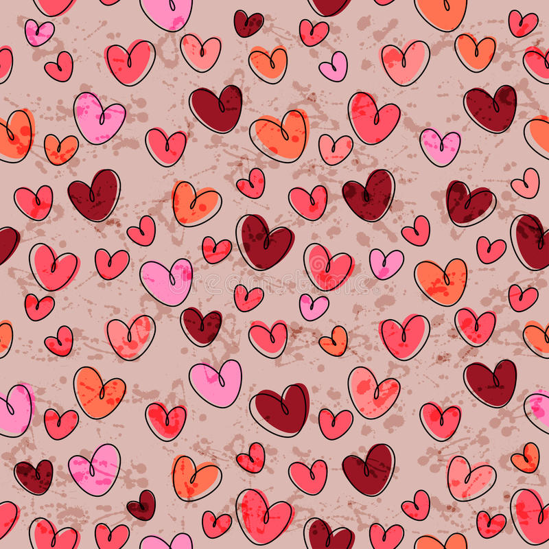 Seamless pattern with funny hearts stock illustration