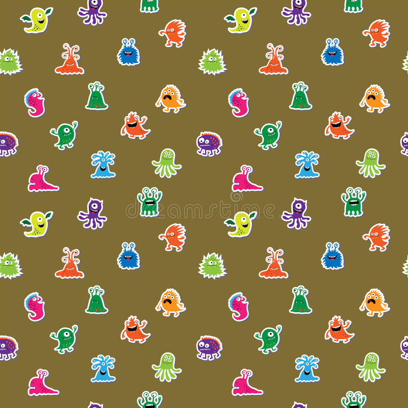 Seamless pattern with funny monsters and aliens. Seamless pattern with a funny monsters and aliens vector illustration