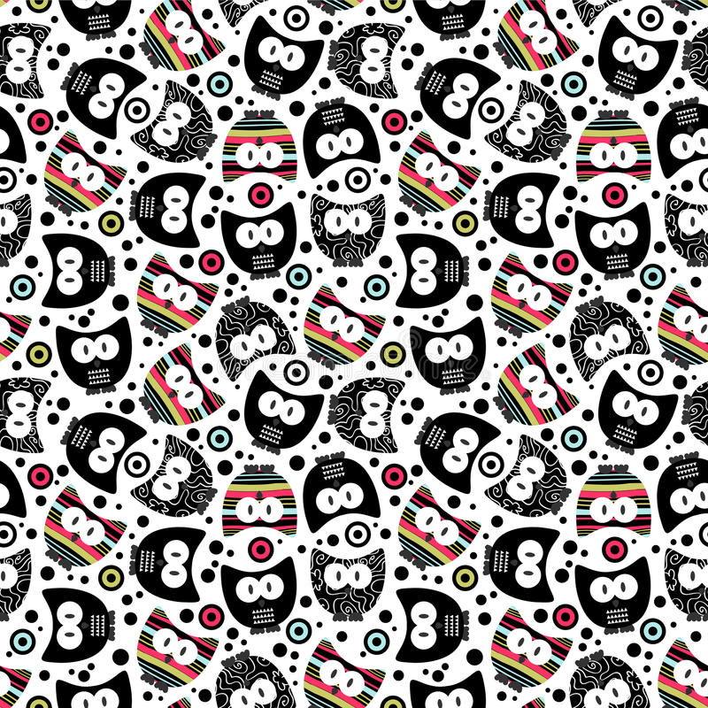Seamless pattern with funny owls. Cute seamless pattern with funny owls stock illustration
