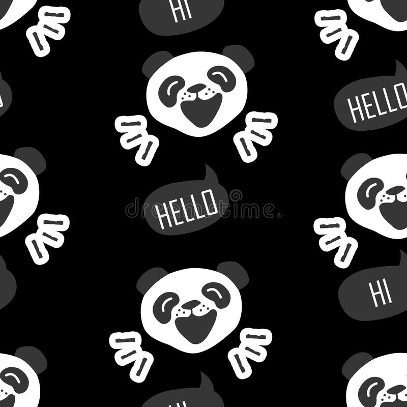 Seamless pattern with funny panda. Cartoon bear says Hello. stock illustration