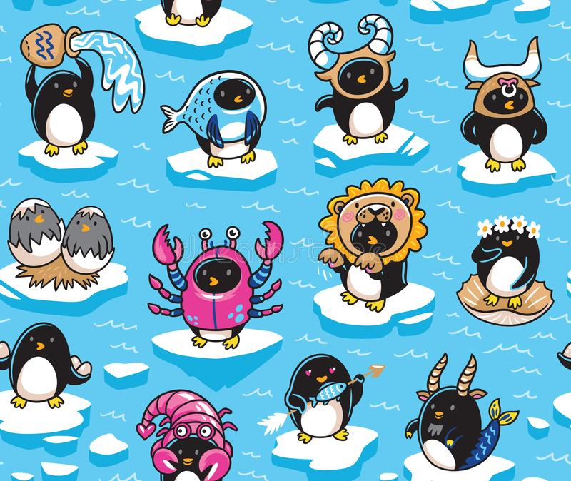 Seamless pattern of penguins zodiac signs in cartoon style. Vector illustration royalty free illustration