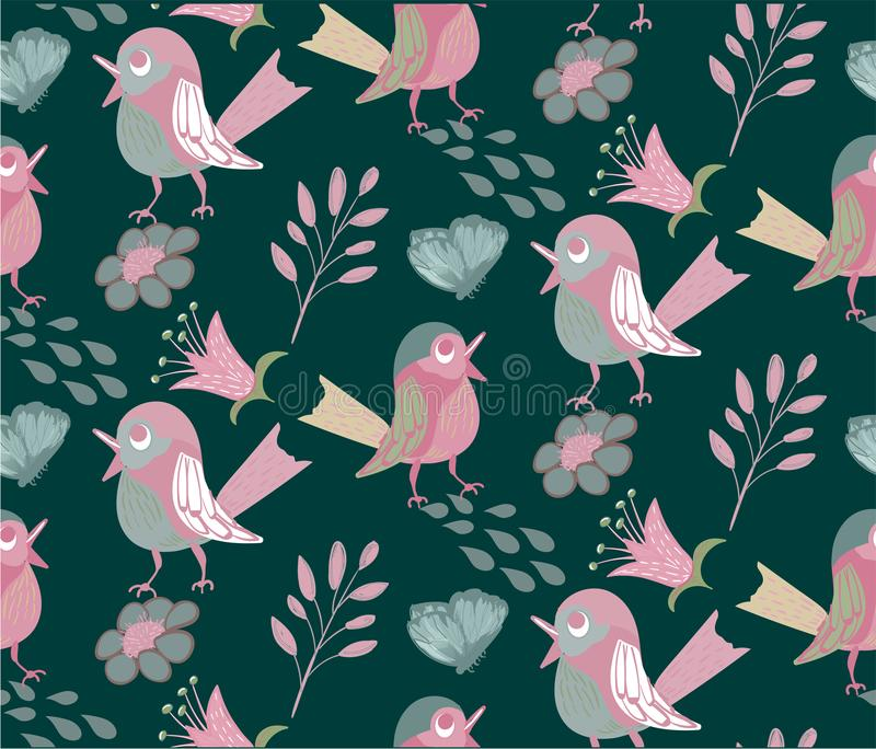 Seamless pattern with funny pretty birds on green royalty free stock image