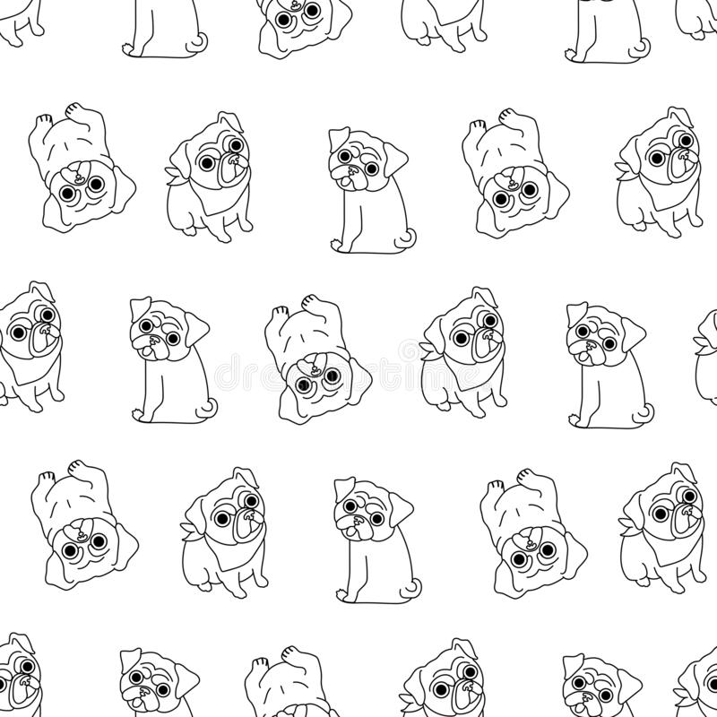 Seamless pattern with funny pugs made in the style of line art on a white background. Seamless pattern with black pugs made in the style of line art on a white stock illustration