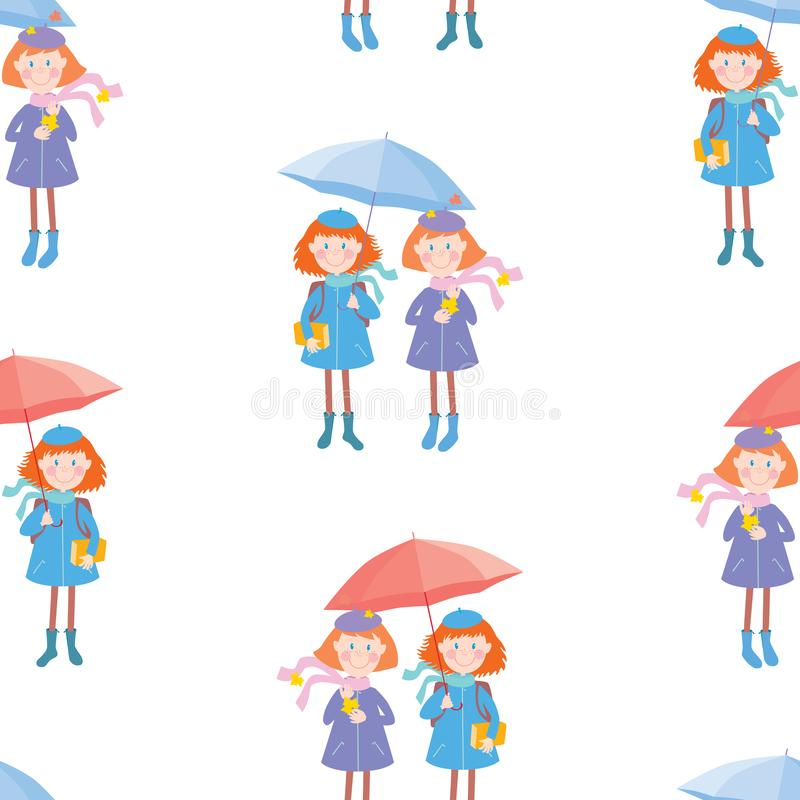 Seamless pattern of funny school girls under umbrellas. Vector background of cheerful pupils girls with umbrellas royalty free illustration