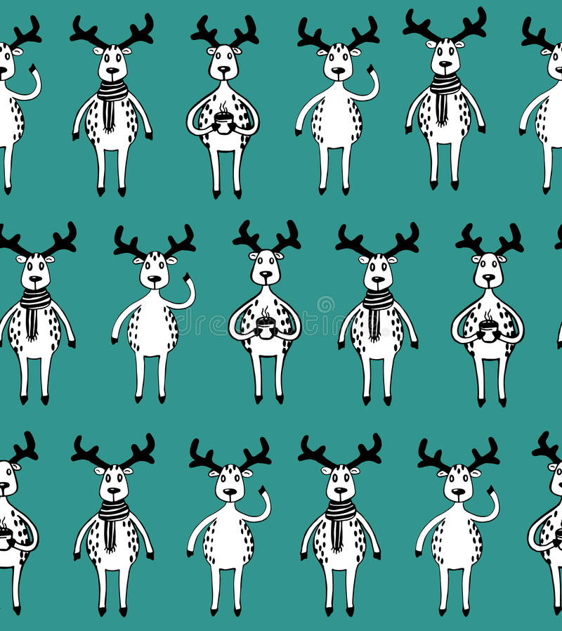 Seamless pattern of funny sketch deers. vector illustration