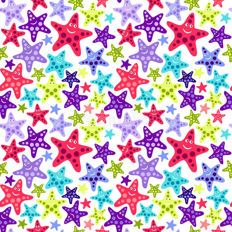 Download Seamless Pattern With Funny Starfish Stock Vector - Image: 17036830