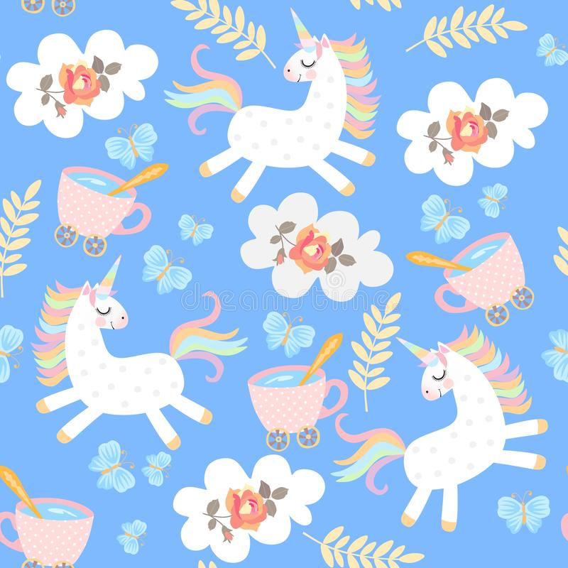 Seamless pattern with funny unicorns, cups of tea, clouds with rose flower, autumn leaves and blue butterflies. Print for fabric. Wallpaper. Vector vector illustration