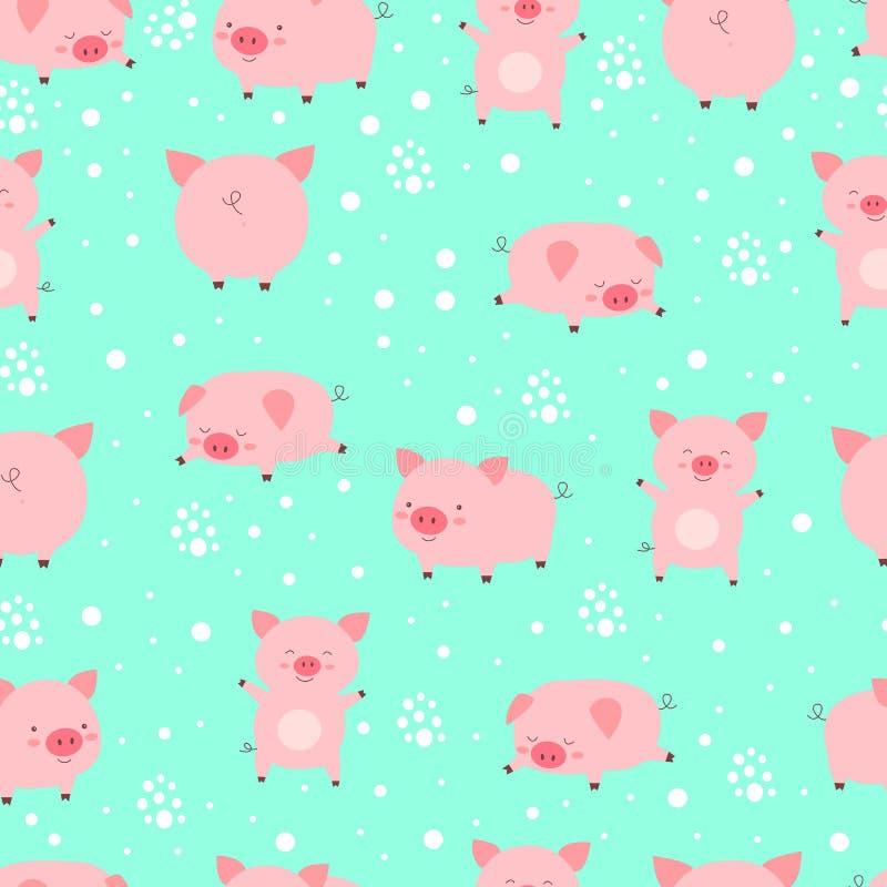 Seamless pattern funy little cute pigs in snow. Cartoon animal v vector illustration